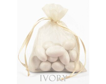 10 Ivory Organza Bags, 5 x 8 Inch Sheer Fabric Favor Bags