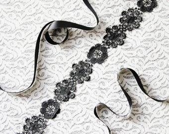 Wedding Sash Belt Bridal Sash Belt Black Sash Belt - Snowflake Lace Sash Belt Flower Sash Belt - Wedding Dress Sashes Belts Floral Sash