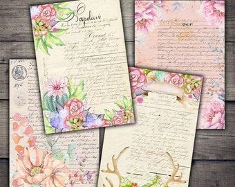 Watercolor Floral Ephemera Digital Collage Sheet Download - Digital Paper - Instant Download Printables