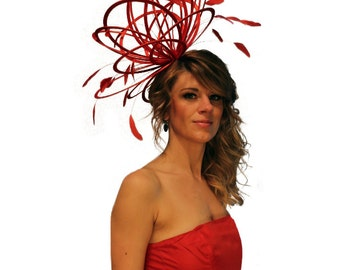 Red large Feather Fascinator Hat - Perfect for a Mother of The Bride, ladies day - choose any colour feathers and satin