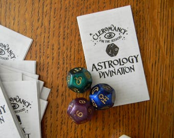 ASTROLOGY Dice Divination Set - Astro Fortune-Telling Dice Set and Instructions