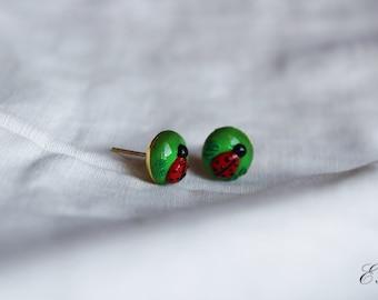 Ladybug  Vintage Earlobe Earrings, Handmade, Spring Nature
