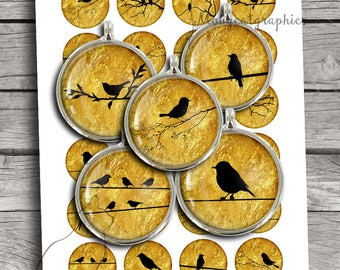 Golden Bird Silhouettes 20mm 25mm 1 inch 30mm 1.5 inch Bottle cap Images Cabochon images Printable Digital Collage Sheet