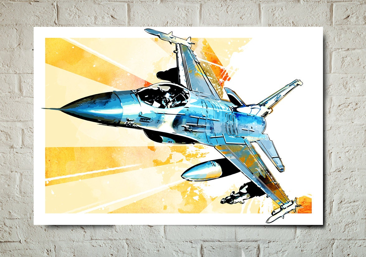 Airplane F-16 Fighting Falcon Airplane Art fighter jet