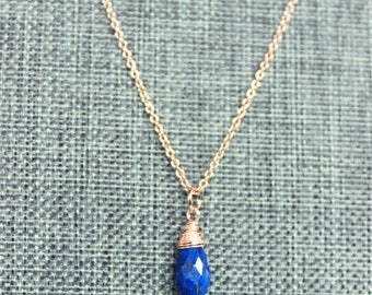 Lapis Lazuli Teardrop Rose Gold Necklace