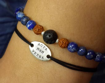 Bracelet made of  Lapis Lazuli with voulcanic lava and rudraksha