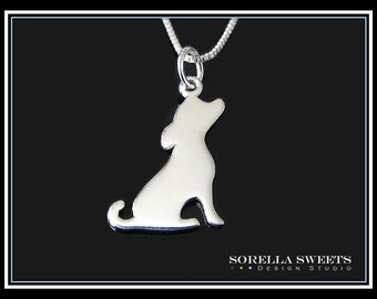 Dog Necklace, Dog Silhouette Necklace, Silver Dog Necklace, Pet Gift, Puppy Necklace, Pet Memorial Necklace, Animal Lovers