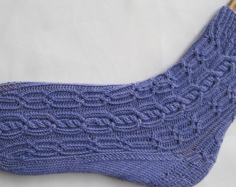 Knit Sock Pattern:  Montreaux Alpine Cabled Knit Sock Pattern