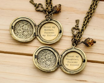 Mother and Daughter Locket Set - First my Mother (Daughter) forever my friend - Mom Locket, Daugther Locket