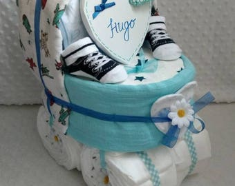Beautiful Blue Pram Baby Boy Nappy Cake Diaper Cake New Baby Gift Baby Shower Christening Personalised