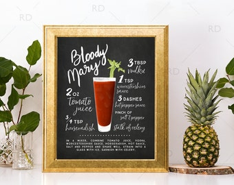 Bloody Mary Chalkboard Cocktail with Recipe - PRINTABLE Wall Art / Cocktails Mixed Drinks Wall Art / Hand Drawn Cocktails / Cocktails Print
