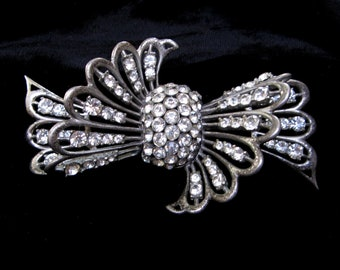 Huge VINTAGE BROOCH Art DECO Pin Rhinestone Brooch Rhinestone Bow Pin 1940s Brooch 1930s Jewelry Pot Metal French Paste Crystal Gift