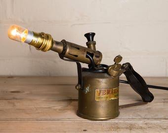 Vintage blow torch lamp, desk lamp, table lamp, veritas blow torch