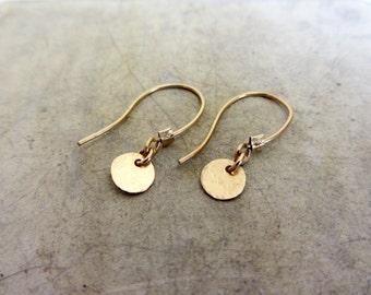 Gold disc earrings, tiny round disc gold earrings, 14K gold filled earrings
