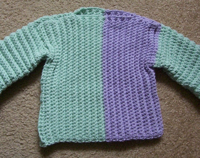 Sweater - Crochet Baby Sweater - Crochet in Green and Lilac - for Boys or Girls