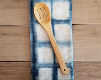 Flour sack towel, Hand dyed, Shibori, Indigo, Flour Sack, Tea Towel, Dish Towel, Kitchen Towel, Rustic Towel
