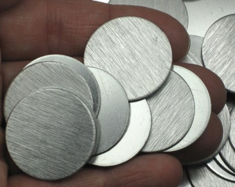 """1"""" Aluminum Stamping Blanks (10), No Holes, Reversible, 18 Gauge 1mm Brushed Aluminum Discs (Tags) 1 inch, Lightweight and Gray"""