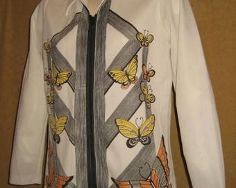 60s Polyester Blouse Butterfly Print Zip Front Vintage