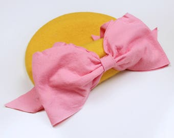 Bow Beret (Yellow & Pink)