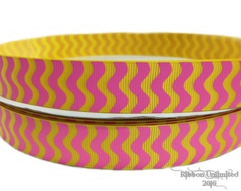 10 Yds WHOLESALE 7/8 Inch YeLLOW with HoT PiNK WaVY Stripes grosgrain ribbon LOW Shipping