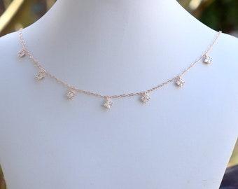 Handmade Rose Gold Diamond Cubic Zirconia Choker, Rose Gold Choker, CZ Choker, Rose Gold Necklace, Pink Necklace, Wedding Jewelry, N062