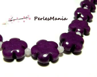 Pearls and stones: 5 flower beads jade colored 5 16mm purple petals
