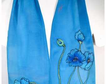 "Hand-painted silk scarf. Blue Poppy Silk Scarf. 8.5""x52"" crepe. Handpainted silk scarves. Hand-painted silk scarves. Painted silk scarf"