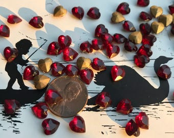 Take it, Another little piece of my Heart...20 Tiny Vintage Western German Gold Pointbach Ruby Glass Hearts