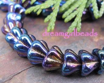 Blue Iris Bell Flower 8/6mm Beads