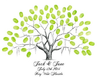 Customizable Wedding Guestbook Fingerprint Tree Poster Keepsake / Pen and Ink Drawing / Family Tree