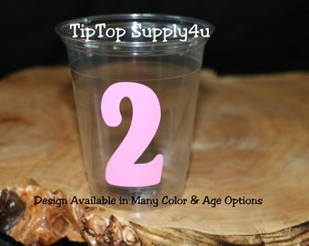 24 age 2 clear plastic party cups 9,10,12,16oz options. Happy birthday cups with age to match and theme party. Girl birthday,boy bday. B-152