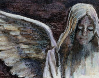 original art  aceo drawing victorian angel