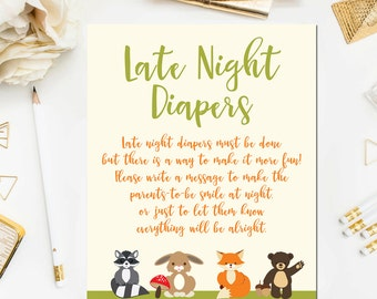 Woodland Late Night Diapers Game Sign, Printable Baby Shower Game, Baby Shower Sign, Woodland Baby Shower Printable Instant BB4