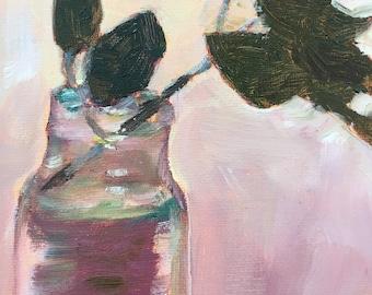 Camelia Leaves in a Vase Original Oil Painting Still Life Art