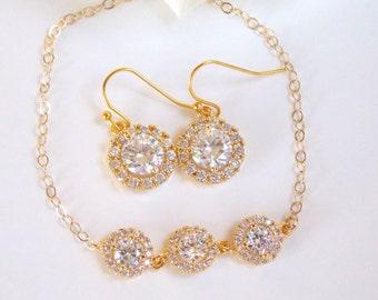 Wedding Jewelry, Cubic Zirconia, Bridal Jewelry, Bridal Earrings and Bracelet Set, Gold Filled, Bride Earrings,Dangle, Bracelet Set,Gif