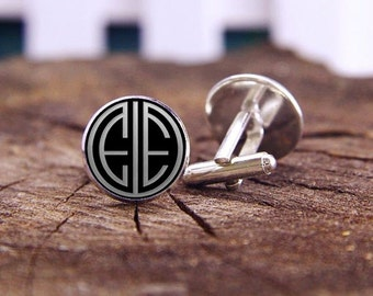 Personalized Monogram Cufflinks, Custom Initial Cufflinks, 1920s Film Style, Custom Wedding Cufflinks, Groom, Groomsmen Cufflinks, Tie Clips