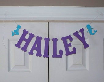 PERSONALIZED Letter Banner - Purple and Turquoise Mermaid Letter Garland - Cardstock - Wall Decor - Mermaid Birthday Party - Baby Shower