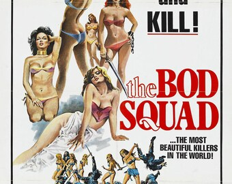 The Bod Squad (1974) movie poster 11 x 17 Tamara Elliot action exploitation film Sonja Jeannine scantily clad martial artists Diane Drube