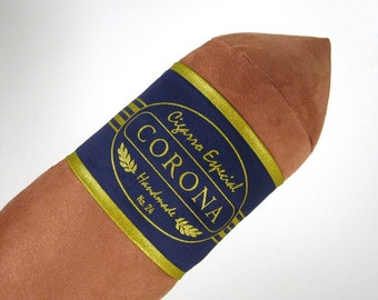 Light Corona Cigar Bolster Pillow with Navy Blue Band 8 x 24 inches