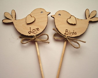 Love Birds Rustic Wedding Cake Topper Bird Cake Topper Rustic Cake Topper Wooden Cake Topper