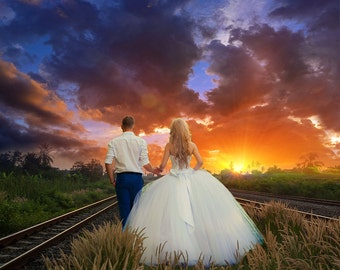 Digital Background, Photo Overlays, Background Replacement, Photography Backgrounds & Backdrops, Train Tracks Sunset Field Landscape