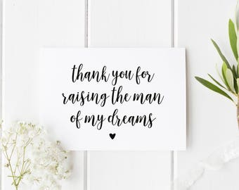 Card For Parents In Law, Thank You For Raising The Man Of My Dreams, Wedding Day Card, Woman Of Dreams Wedding Day Card, Parents In Law Card