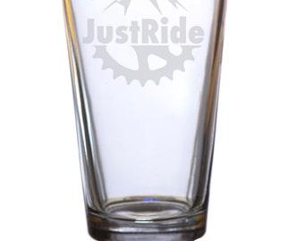 Just Ride Bike Pint Glass