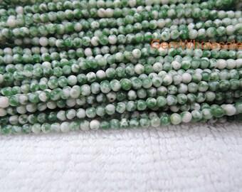 "15.5"" Natural QingHai green jasper 2mm round beads, Green gemstone, semi-precious stone, small green white color DIY jewelry beads"