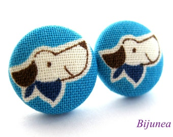 Dog earrings- Blue dog earrings - Dog stud earrings - Blue dog posts - Blue dog post earrings sf842