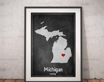 Michigan Gift, Michigan Print, Chalkboard Print, Michigan Map Art, Michigan Wall Art, USA Map Print