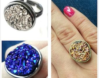 Drusy quartz ring in blue, gold, silver or purple