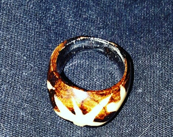 A beautifully made wooden ring