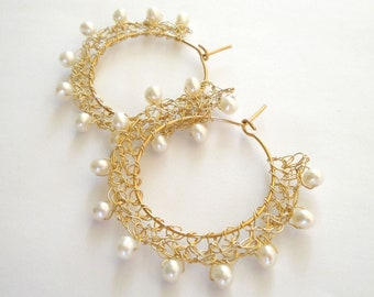 wire crochet earring, wire crochet jewelry, bridal earrings, wedding earrings, pearl earrings, gold  earrings, gift for her, hoop earring