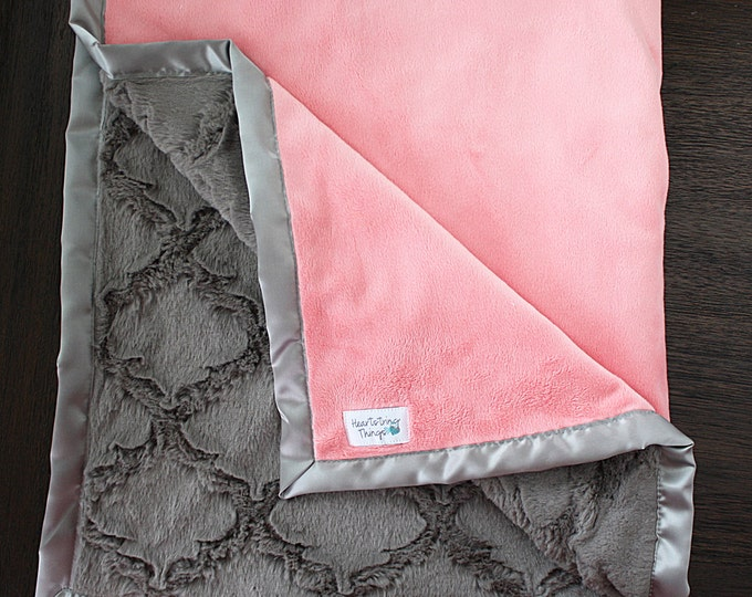 Coral minky, baby girl blanket, Adult minky blanket, coral and grey, Custom minky blanket, baby girl blanket, baby gift, lattice minky